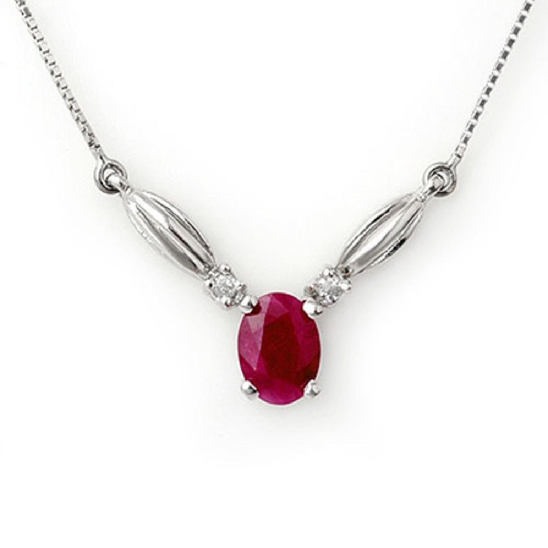 1.30 CTW Ruby & Diamond Necklace 10K White Gold