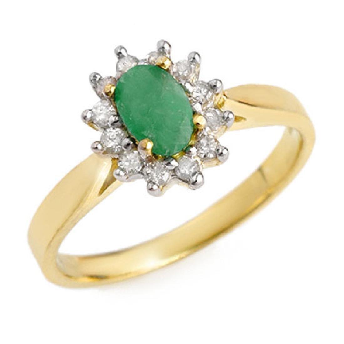 0.51 CTW Emerald & Diamond Ring 10K Yellow Gold