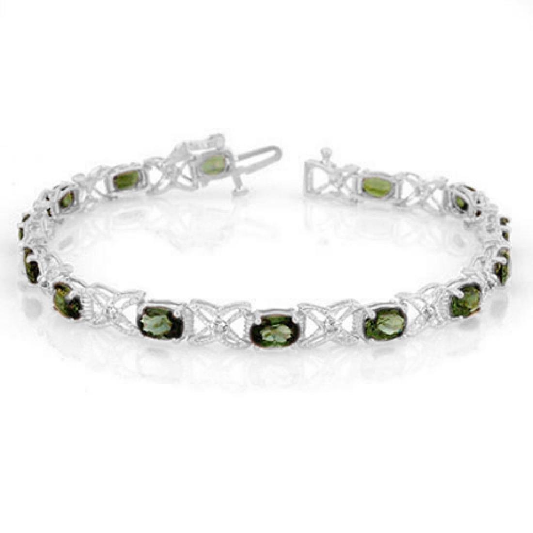 8.15 CTW Green Tourmaline & Diamond Bracelet 14K White