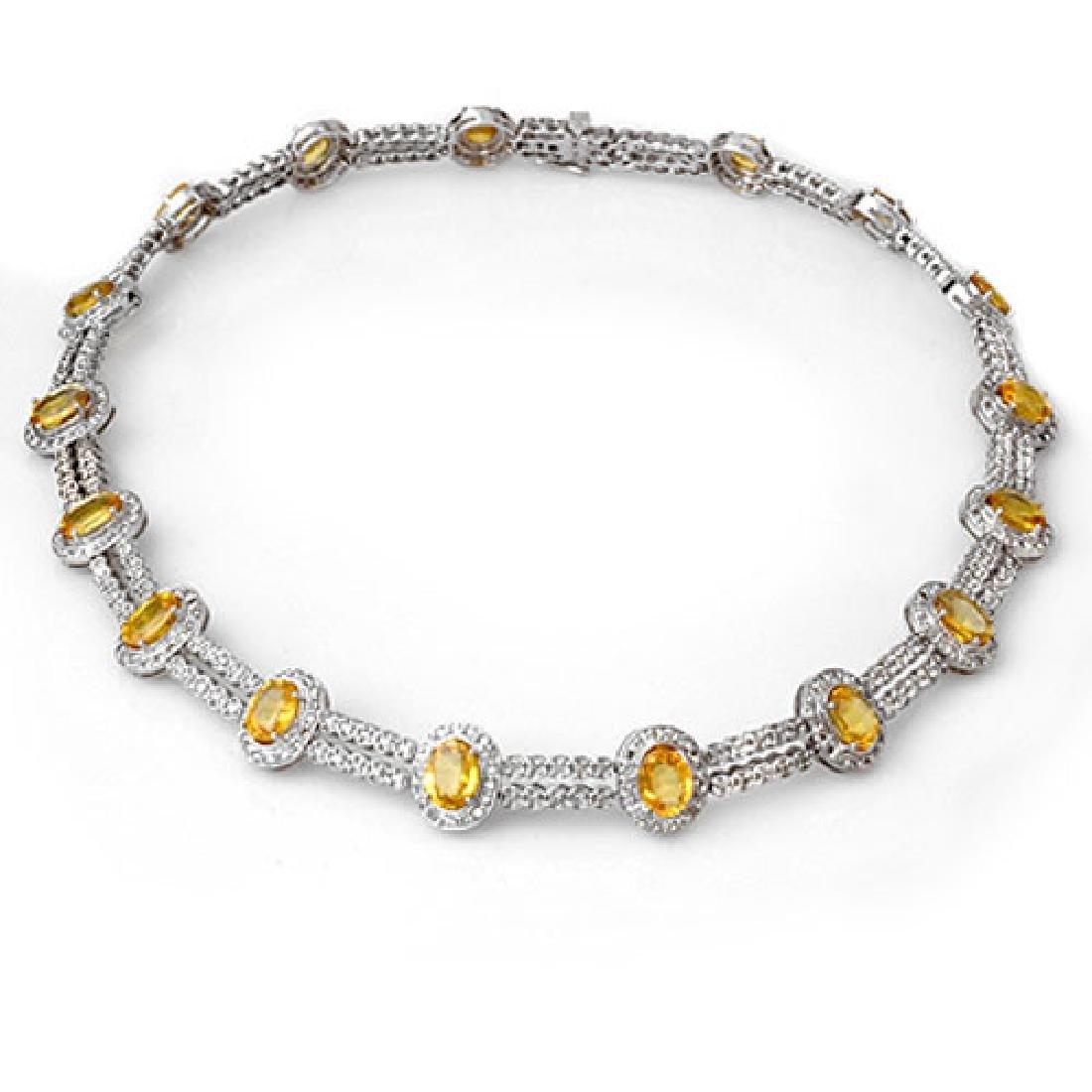 55.5 CTW Yellow Sapphire & Diamond Necklace 14K White