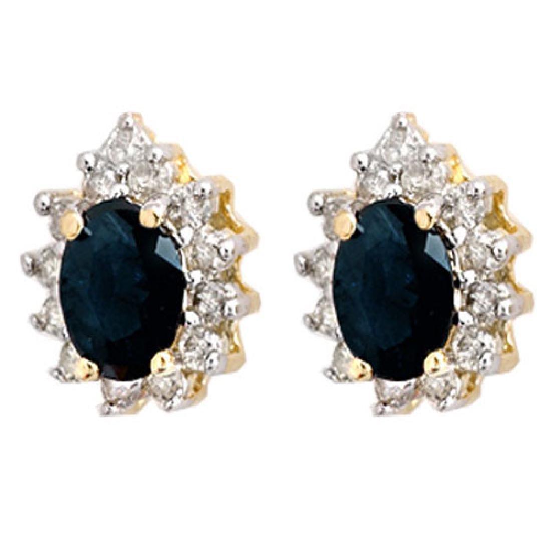 5.46 CTW Blue Sapphire & Diamond Earrings 14K Yellow