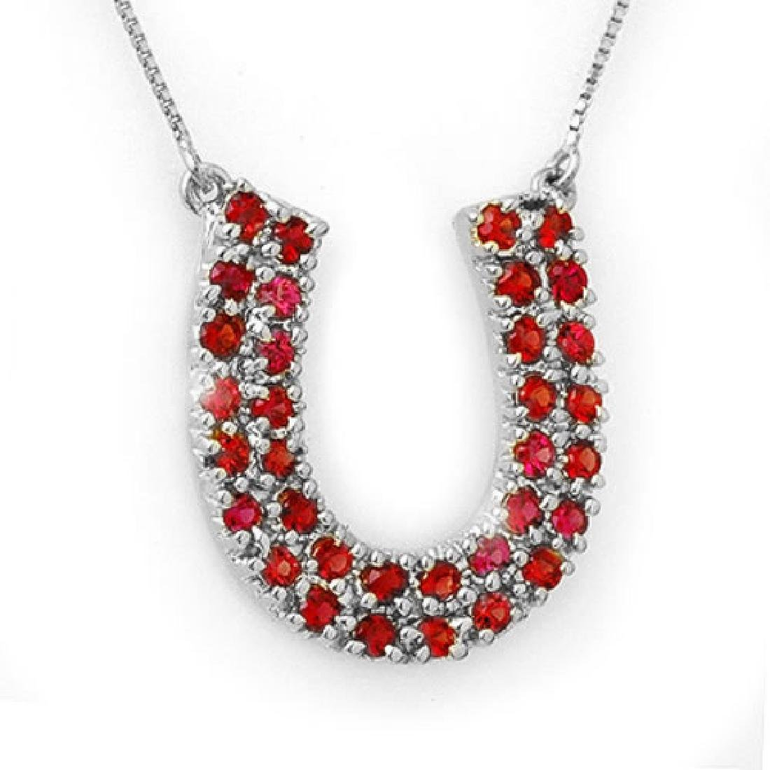 2.0 CTW Red Sapphire Necklace 14K White Gold