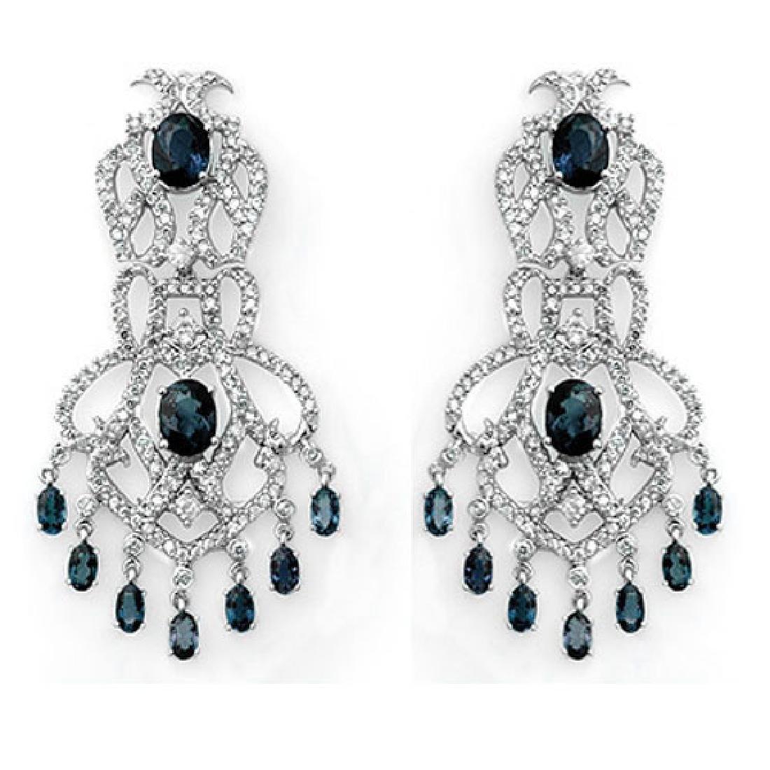 17.60 CTW Blue Sapphire & Diamond Earrings 14K White