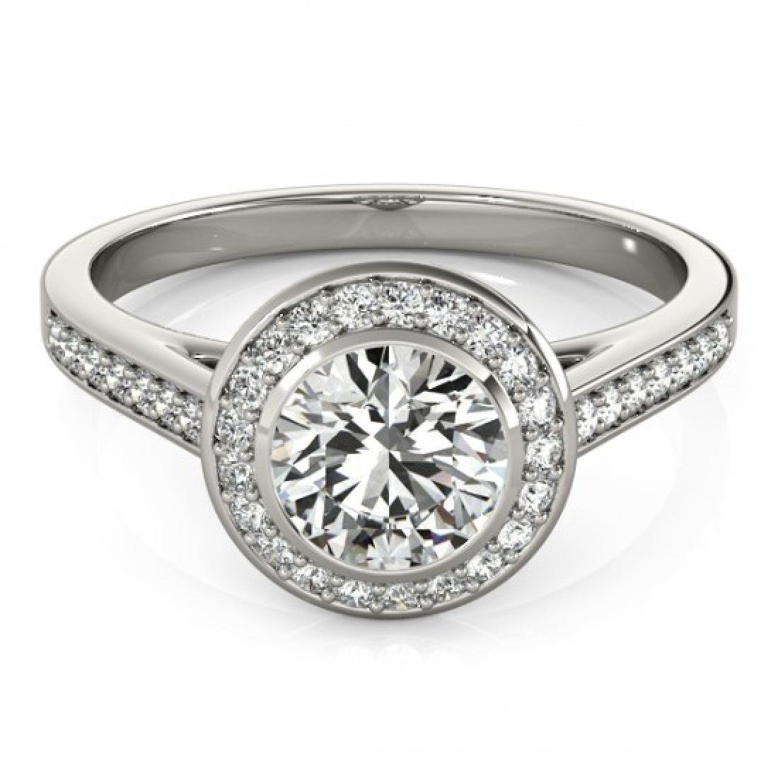 1.3 CTW Certified VS/SI Diamond Solitaire Halo Ring 18K