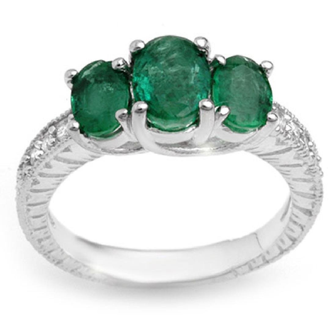 2.50 CTW Emerald & Diamond Ring 14K White Gold
