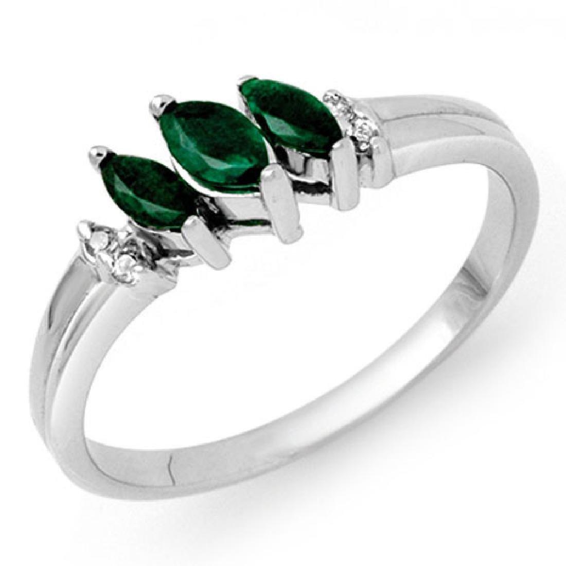 0.29 CTW Emerald & Diamond Ring 10K White Gold