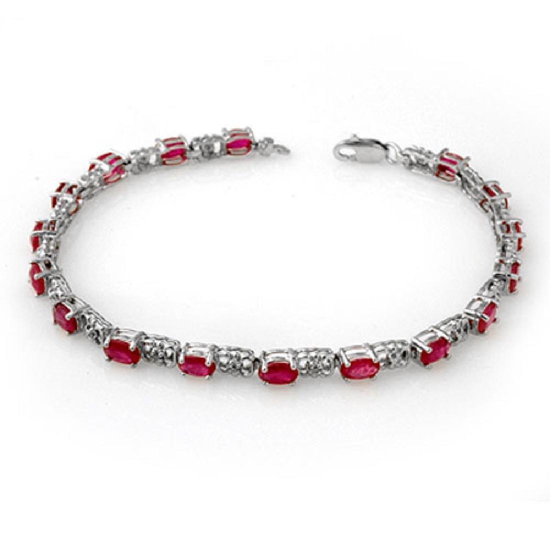 7.12 CTW Ruby & Diamond Bracelet 14K White Gold