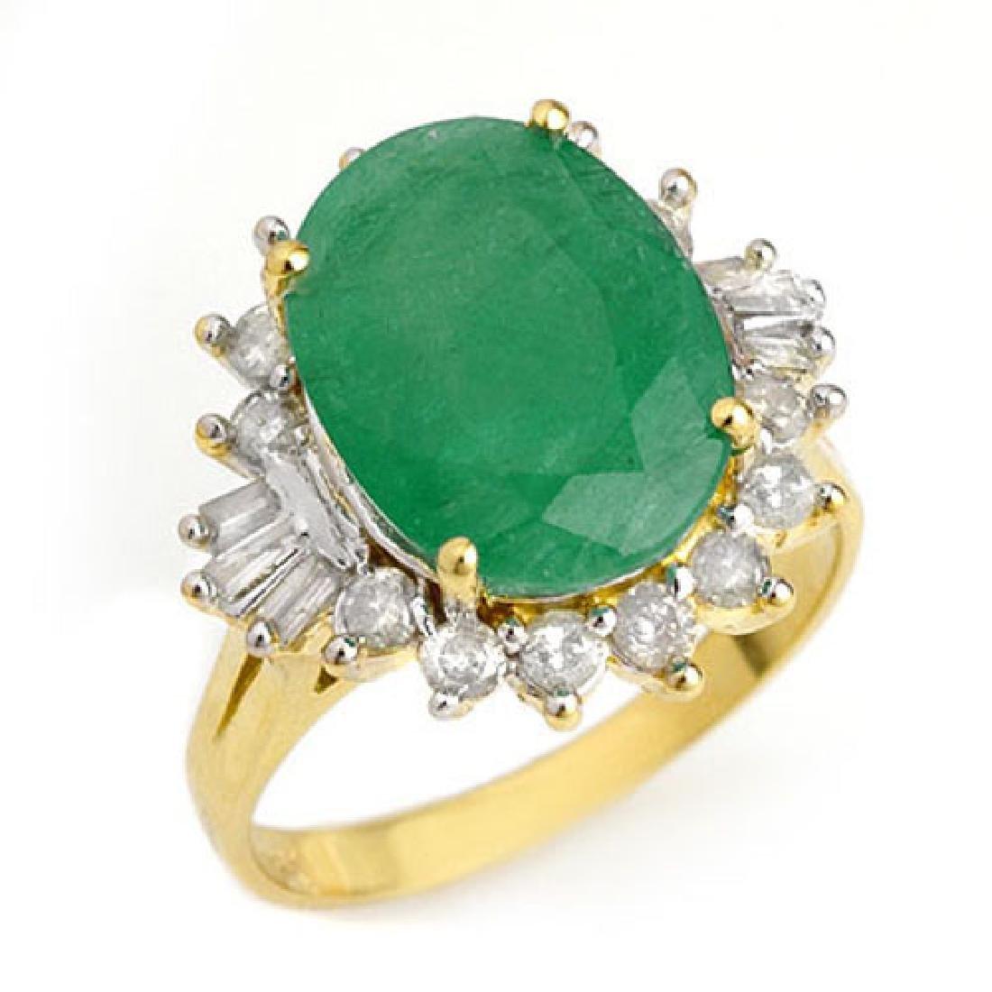 5.98 CTW Emerald & Diamond Ring 14K Yellow Gold