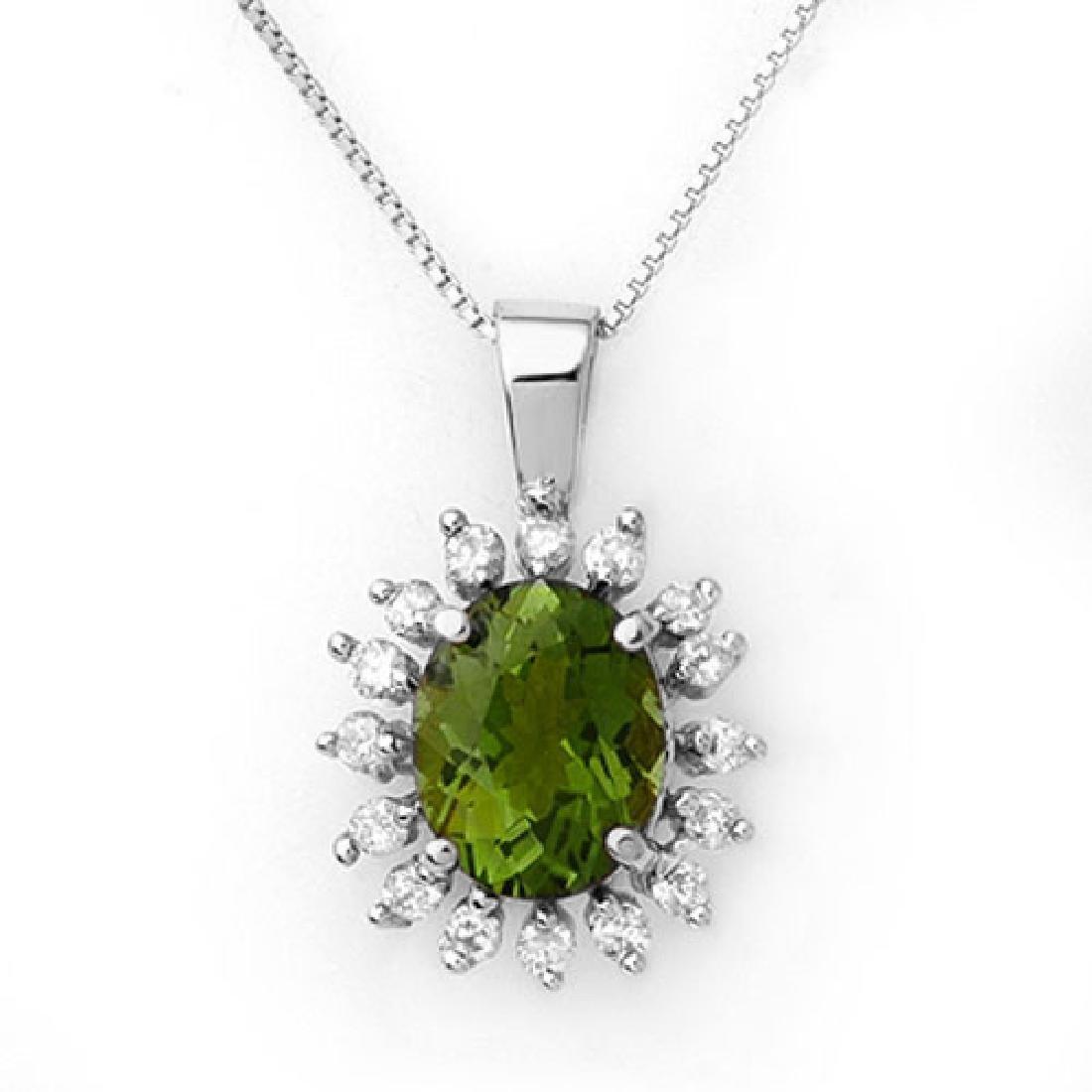 3.55 CTW Green Tourmaline & Diamond Necklace 18K White