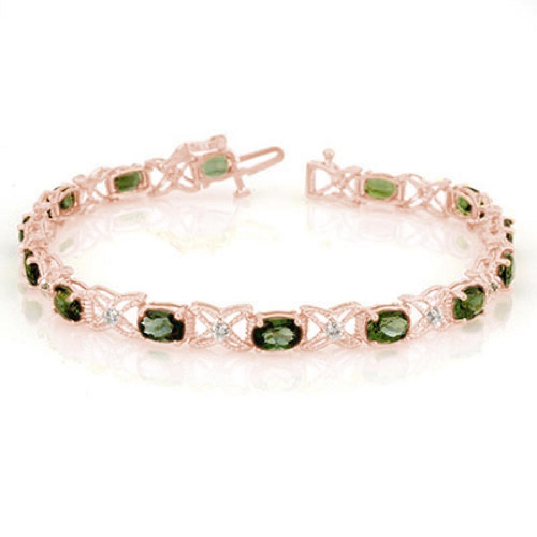 8.15 CTW Green Tourmaline & Diamond Bracelet 18K Rose