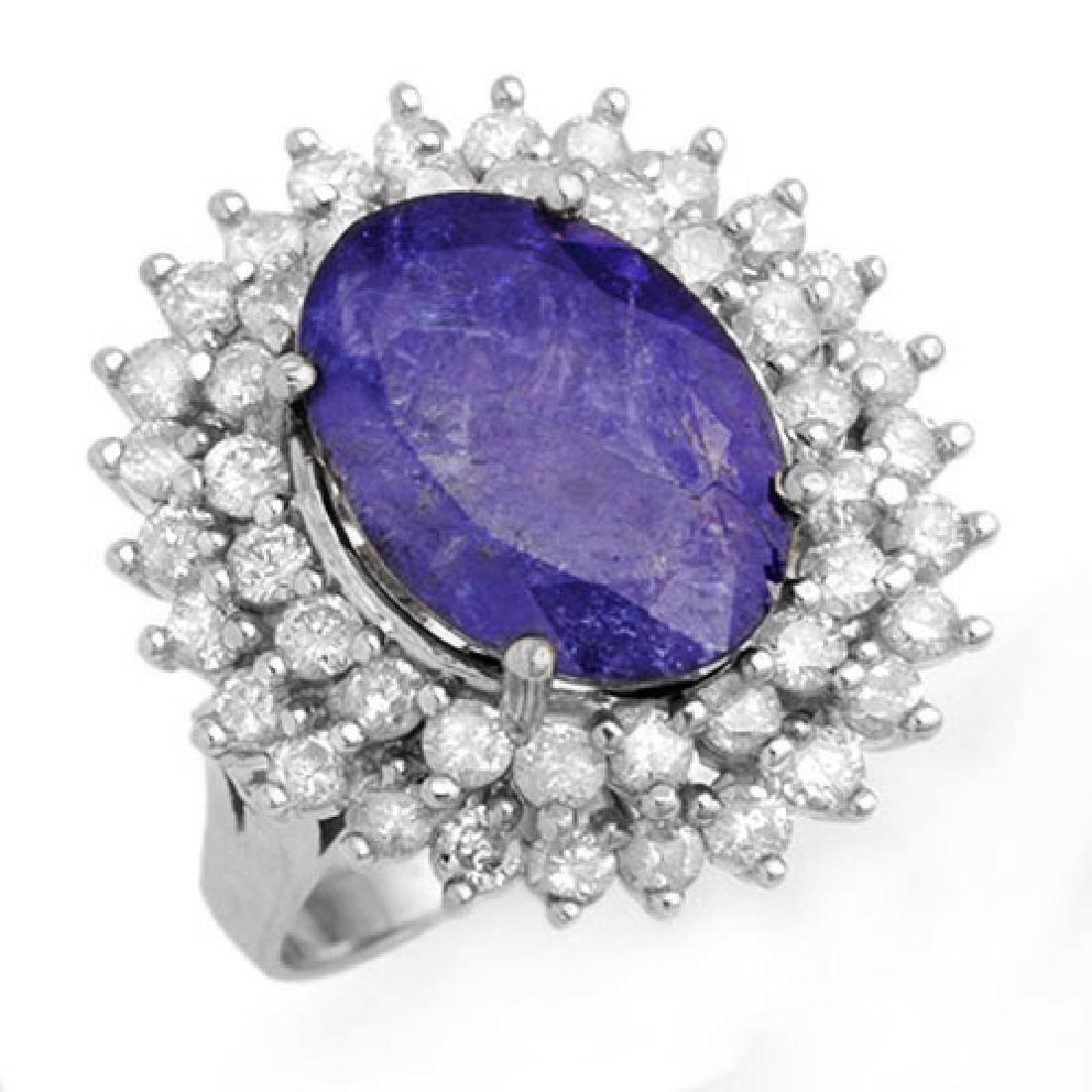 8.78 CTW Tanzanite & Diamond Ring 18K White Gold