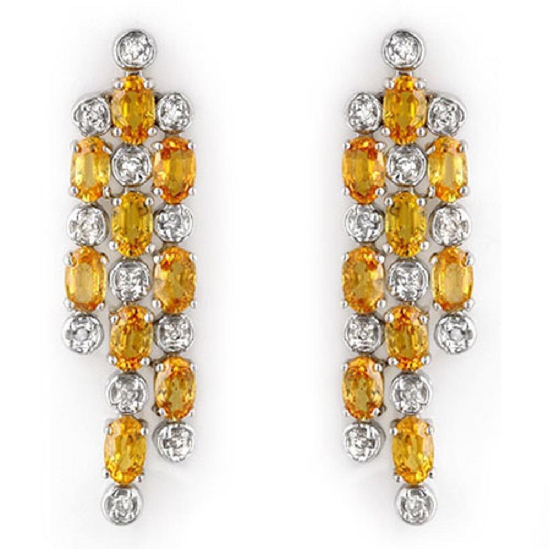6.33 CTW Yellow Sapphire & Diamond Earrings 14K White