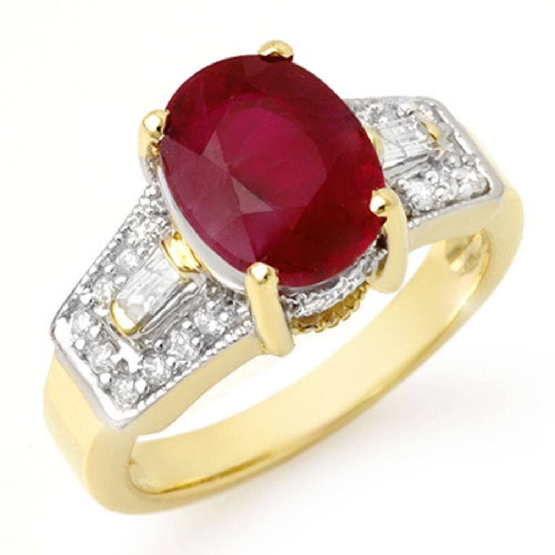 5.55 CTW Ruby & Diamond Ring 10K Yellow Gold