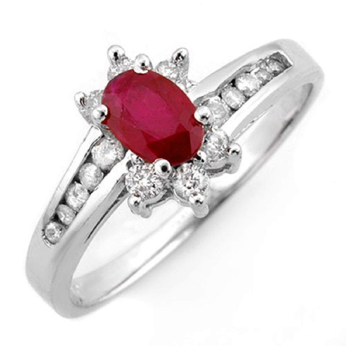 1.03 CTW Ruby & Diamond Ring 10K White Gold