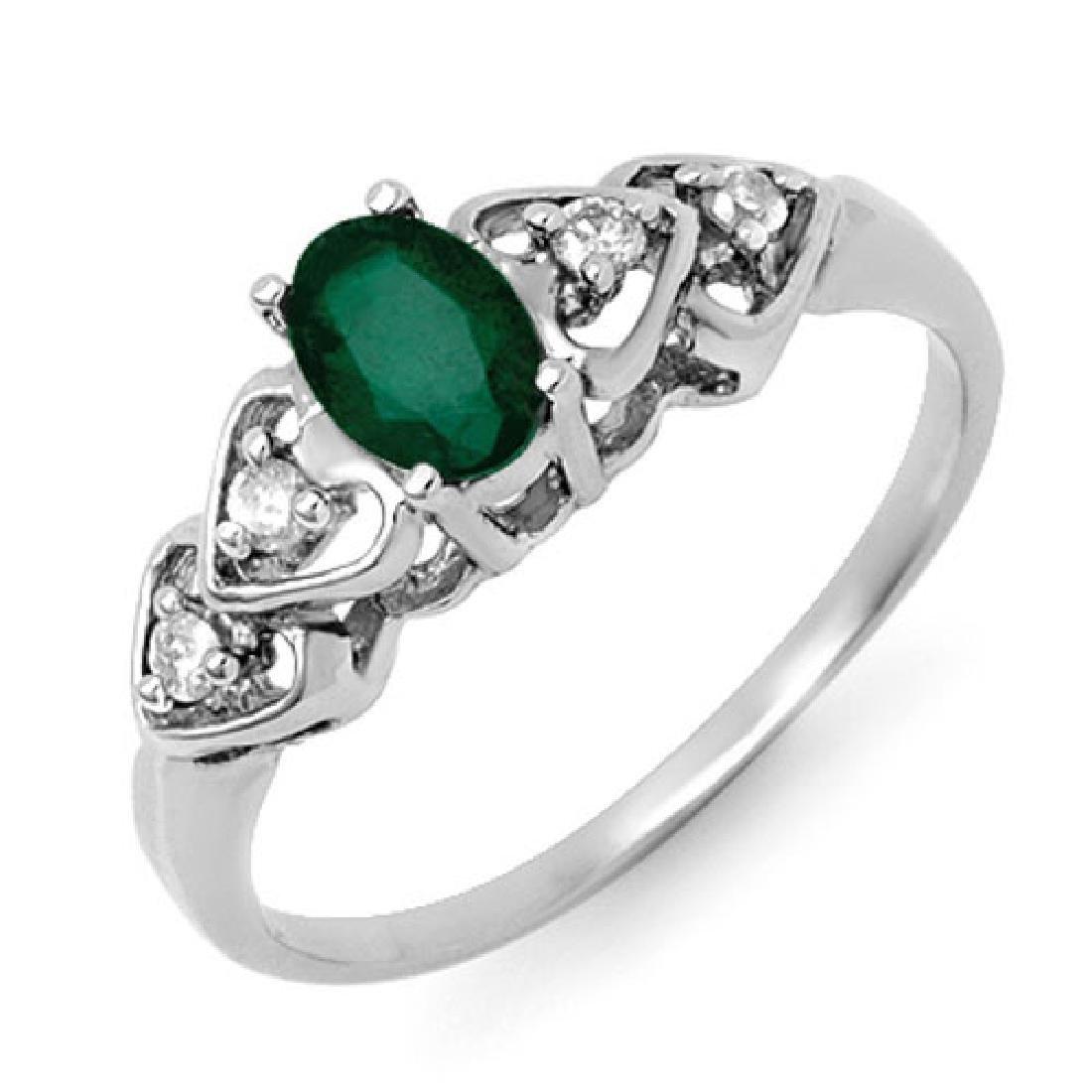 0.57 CTW Emerald & Diamond Ring 10K White Gold