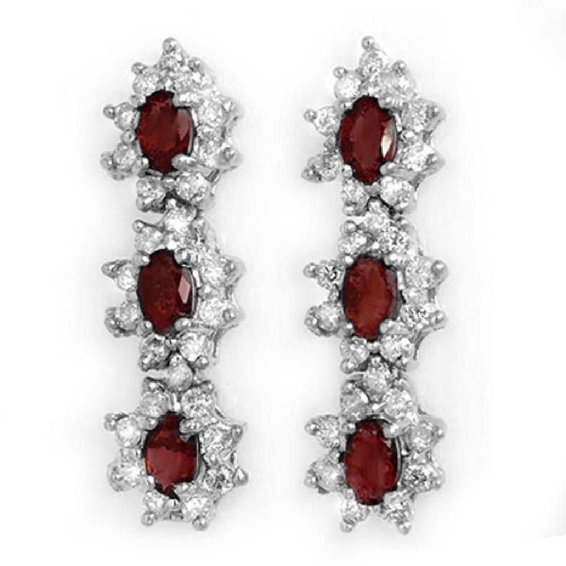 2.81 CTW Ruby & Diamond Earrings 18K White Gold