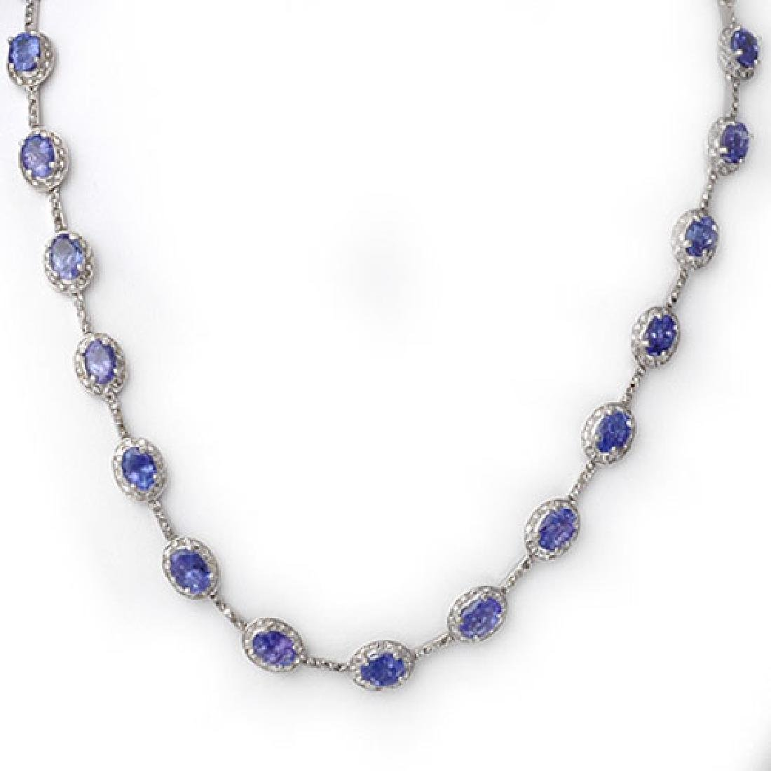 25.0 CTW Tanzanite & Diamond Necklace 10K White Gold