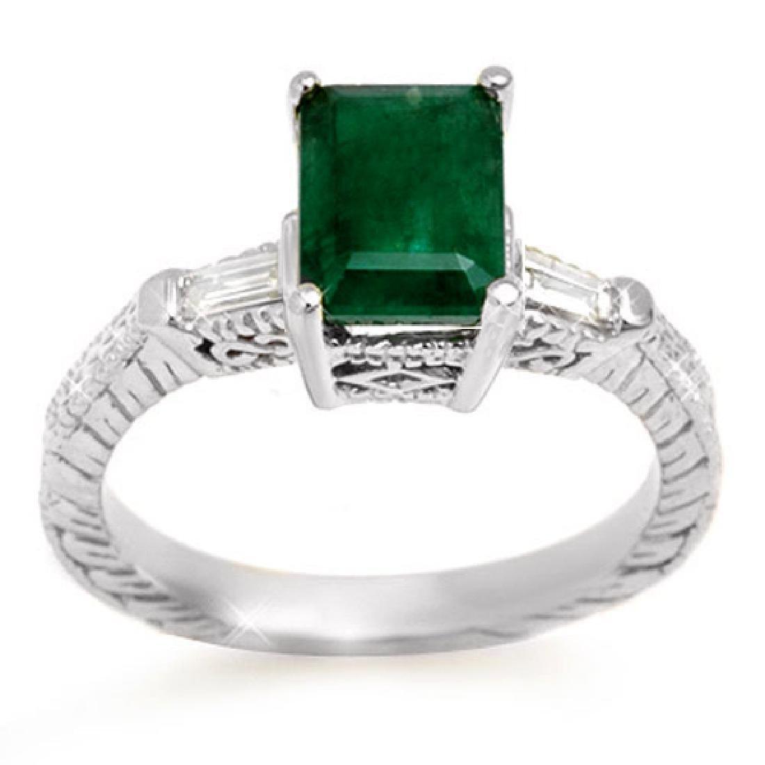 2.45 CTW Emerald & Diamond Ring 14K White Gold