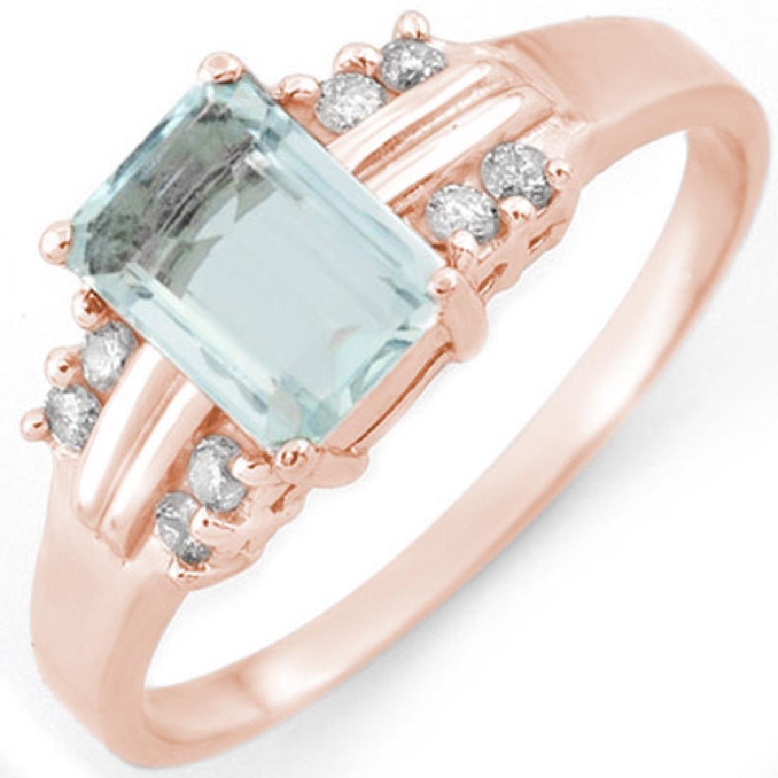 1.41 CTW Aquamarine & Diamond Ring 18K Rose Gold