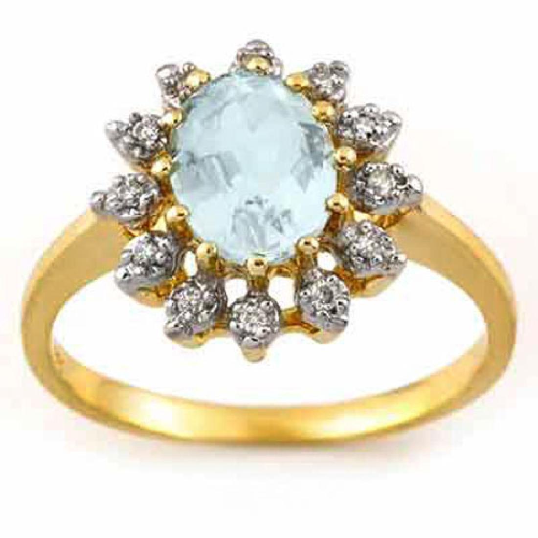 1.62 CTW Aquamarine & Diamond Ring 10K Yellow Gold