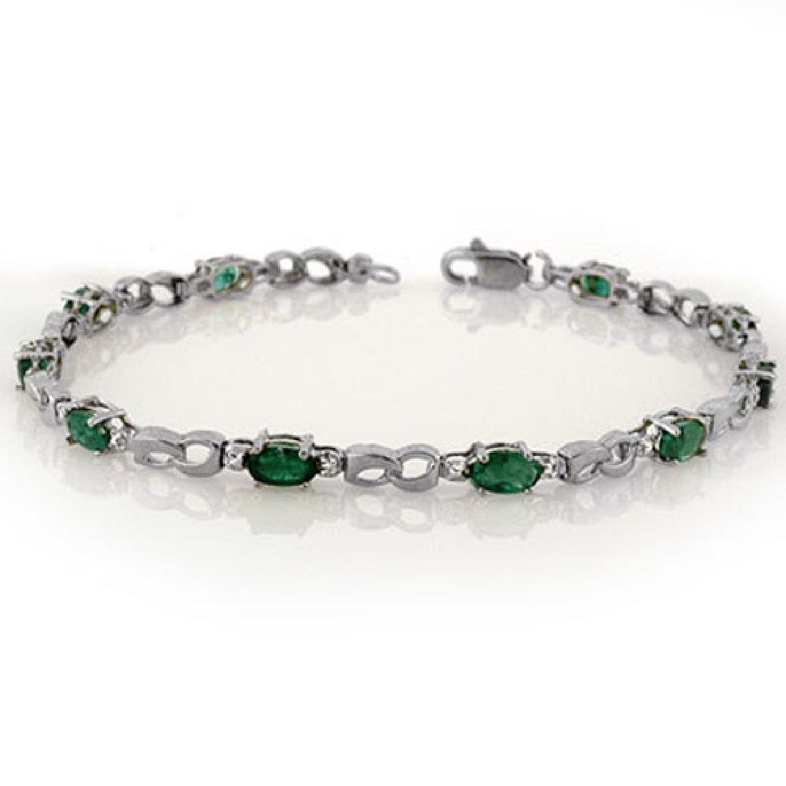 3.01 CTW Emerald & Diamond Bracelet 18K White Gold