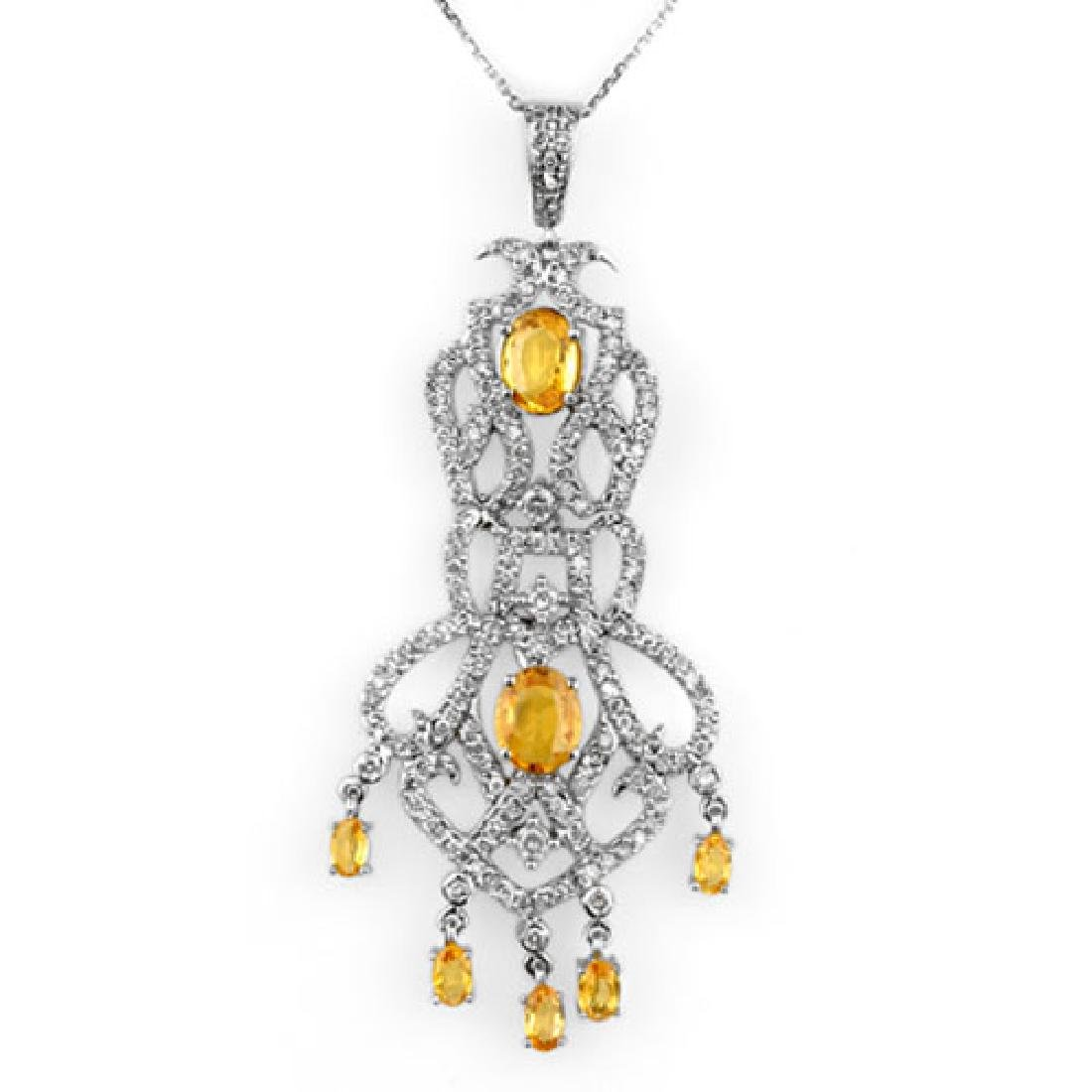 7.65 CTW Yellow Sapphire & Diamond Necklace 14K White