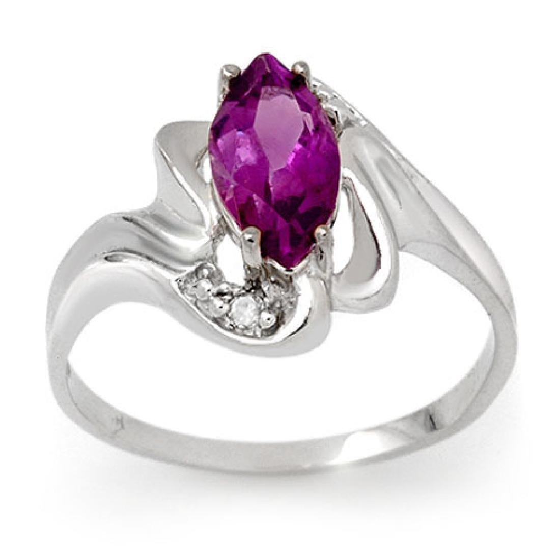 2.62 CTW Amethyst & Diamond Ring 10K White Gold