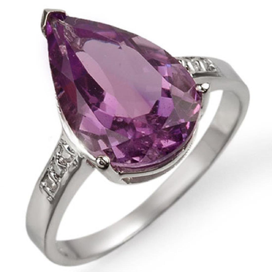 4.10 CTW Amethyst & Diamond Ring 10K White Gold
