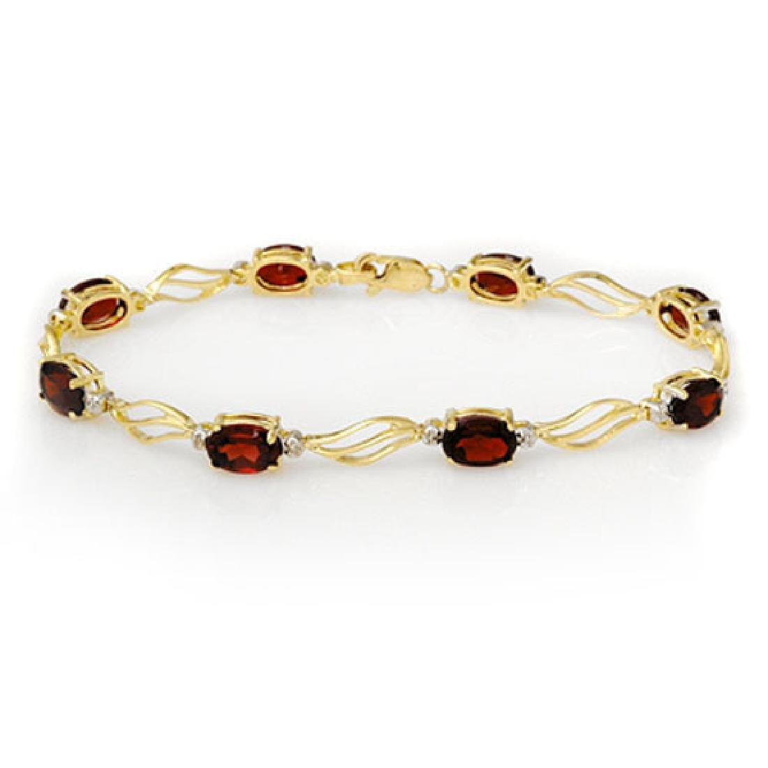 8.02 CTW Garnet & Diamond Bracelet Solid 10K Yellow