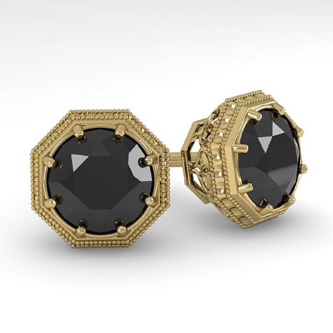 2.0 CTW Black Diamond Stud Solitaire Earrings 18K