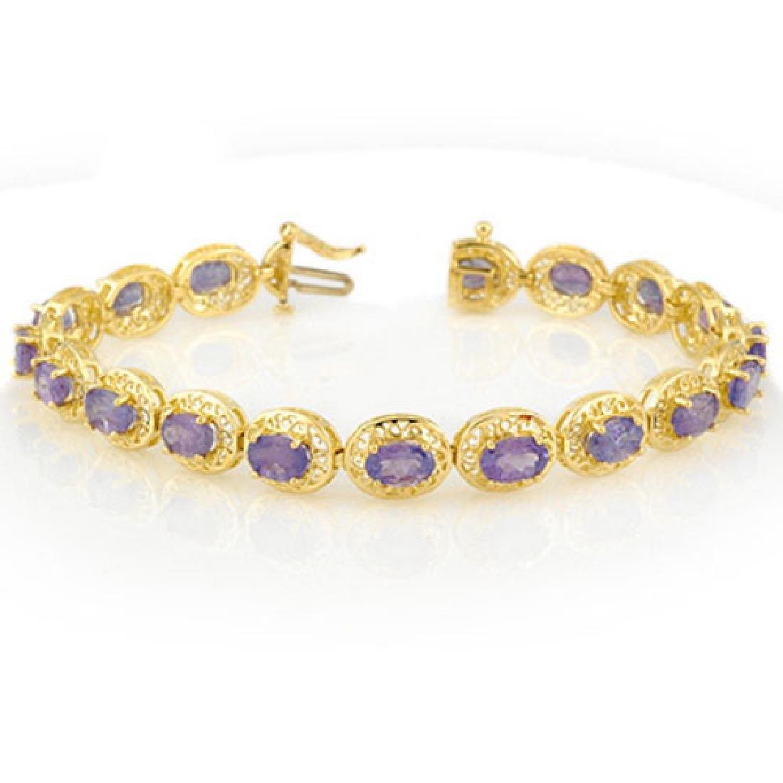 18.0 CTW Tanzanite Bracelet 10K Yellow Gold