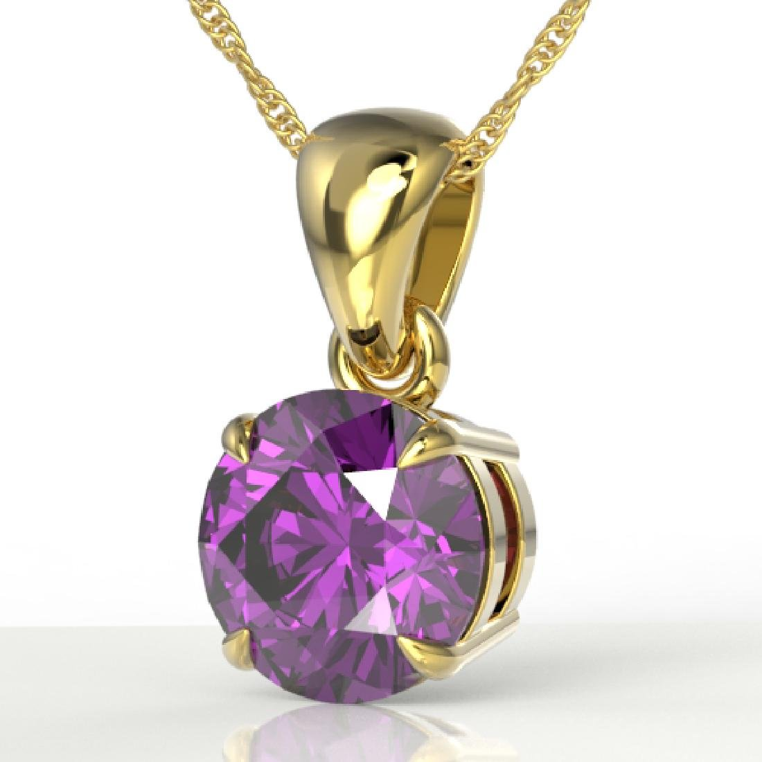 2 CTW Amethyst Designer Inspired Solitaire Necklace 18K
