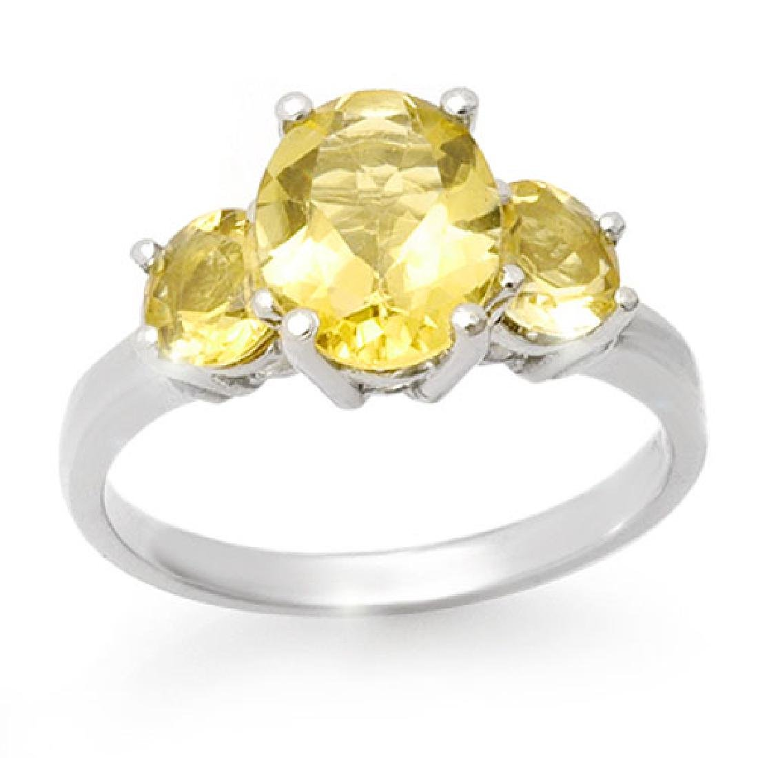 2.55 CTW Citrine Ring 10K White Gold