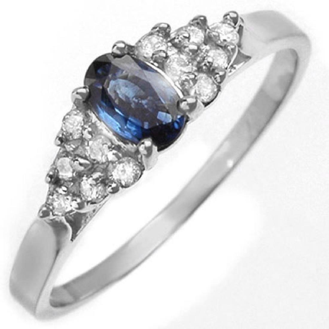 0.74 CTW Blue Sapphire & Diamond Ring 14K White Gold