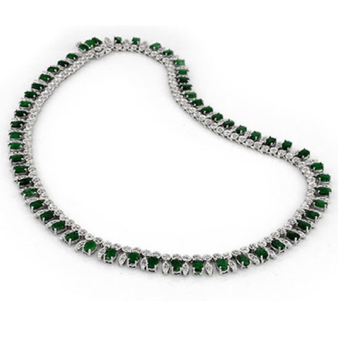 26 CTW Emerald & Diamond Necklace 14K White Gold