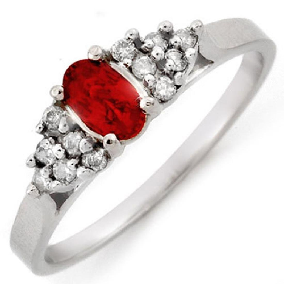 0.74 CTW Red Sapphire & Diamond Ring 14K White Gold