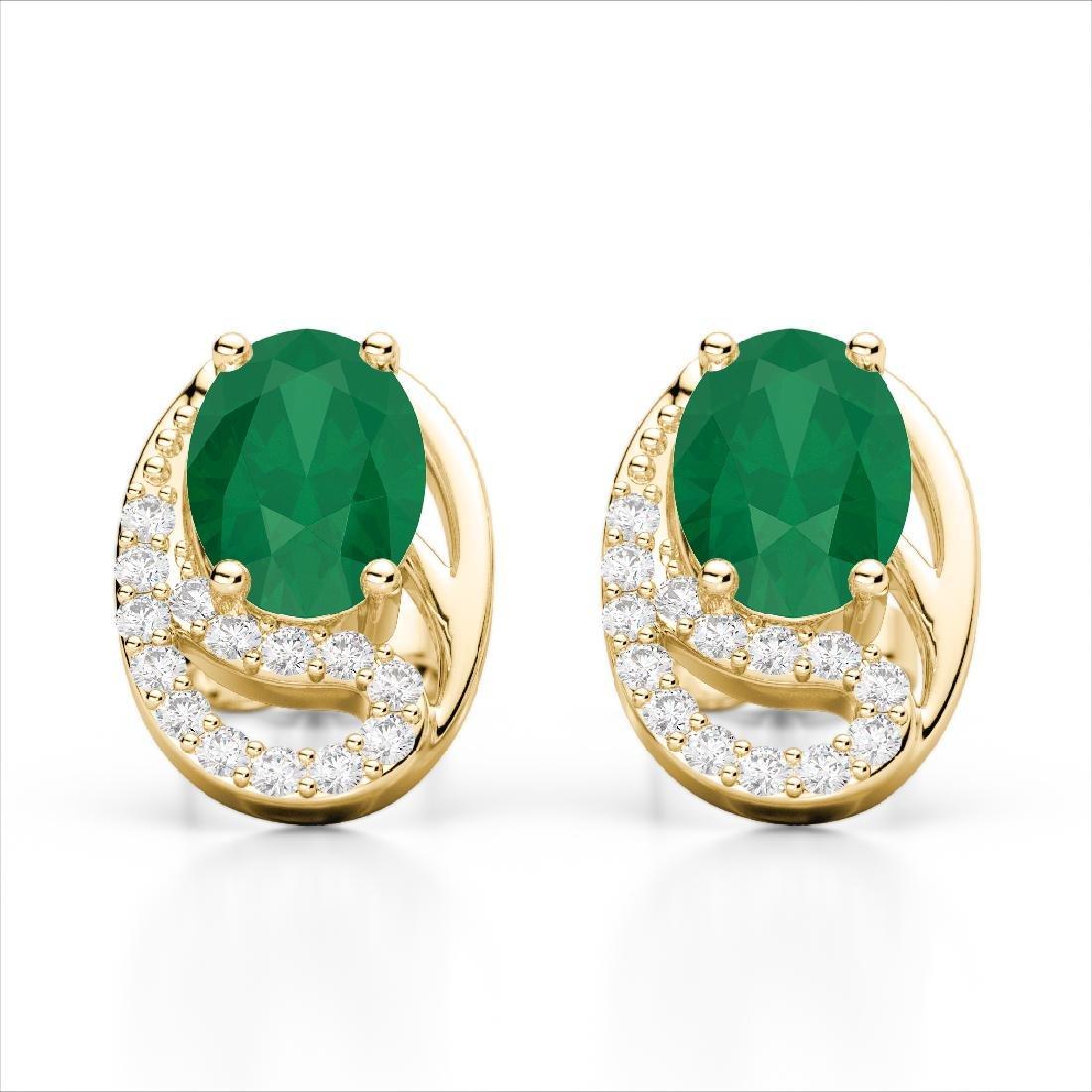 2.50 Emerald & Micro Pave VS/SI Diamond Stud Earrings