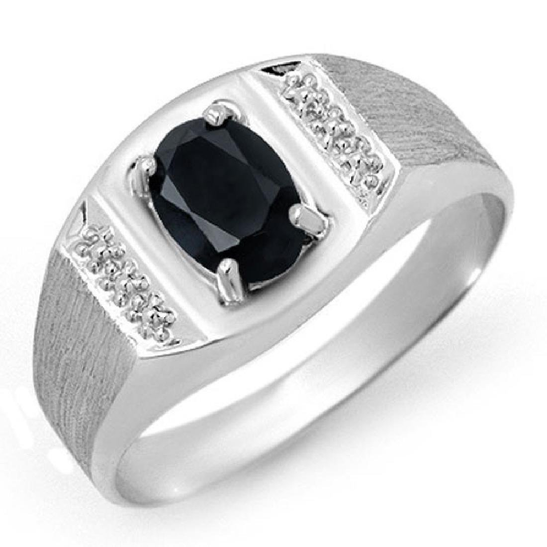 2.0 CTW Blue Sapphire Men's Ring 10K White Gold