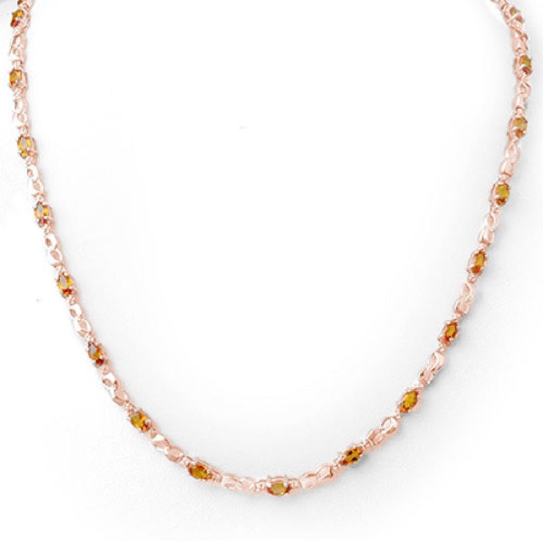 9.02 CTW Orange Sapphire & Diamond Necklace 14K Rose