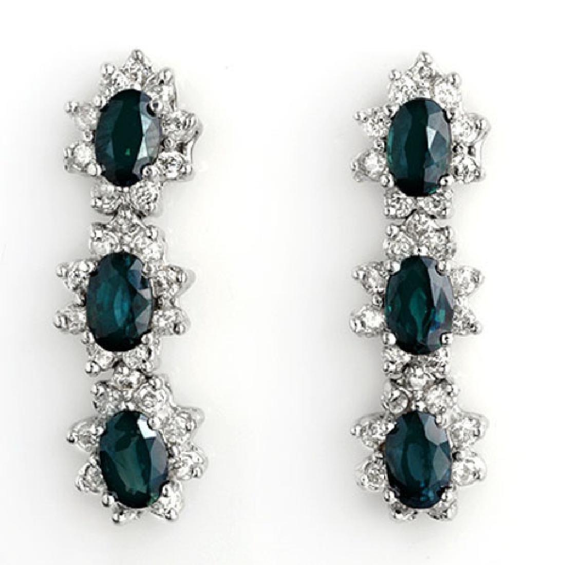 5.88 CTW Blue Sapphire & Diamond Earrings 14K White