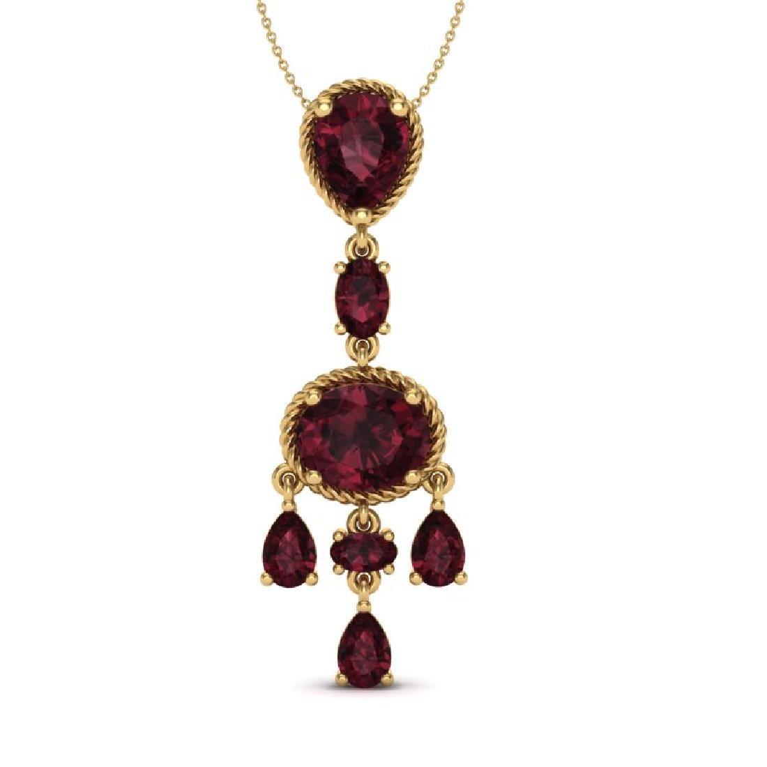 8 CTW Garnet Necklace Designer Vintage 10K Yellow Gold