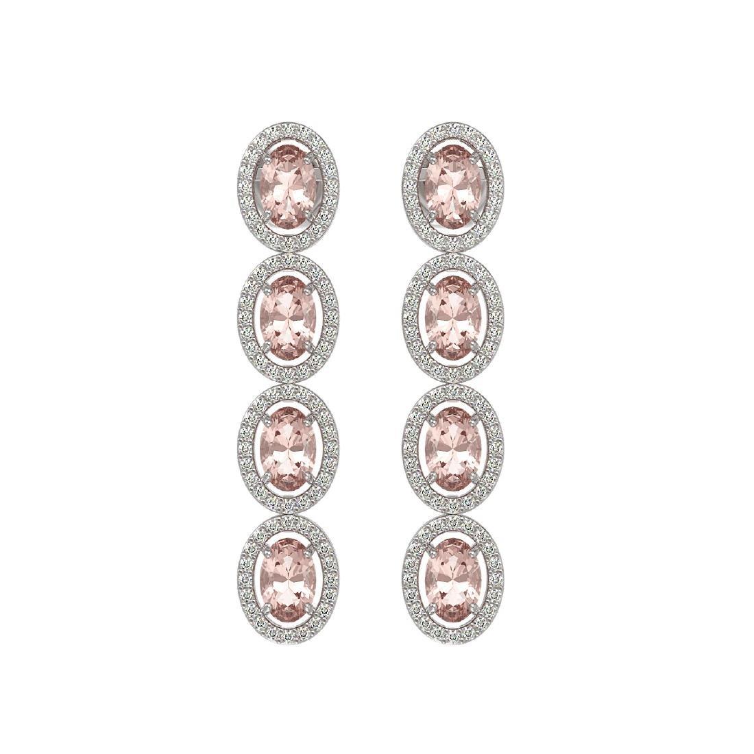 6.09 CTW Morganite & Diamond Halo Earrings 10K White