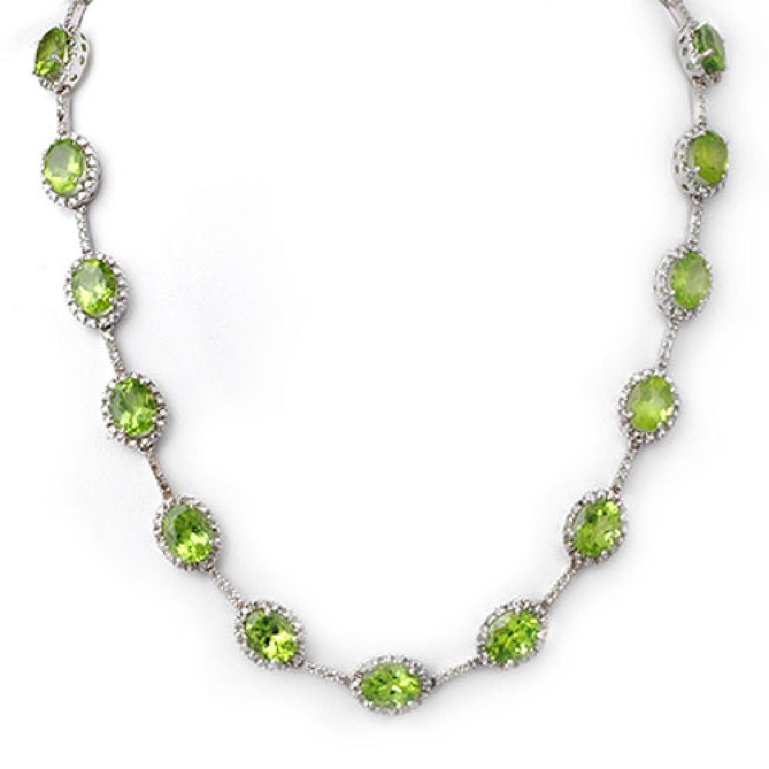 45.0 CTW Peridot & Diamond Necklace 10K White Gold