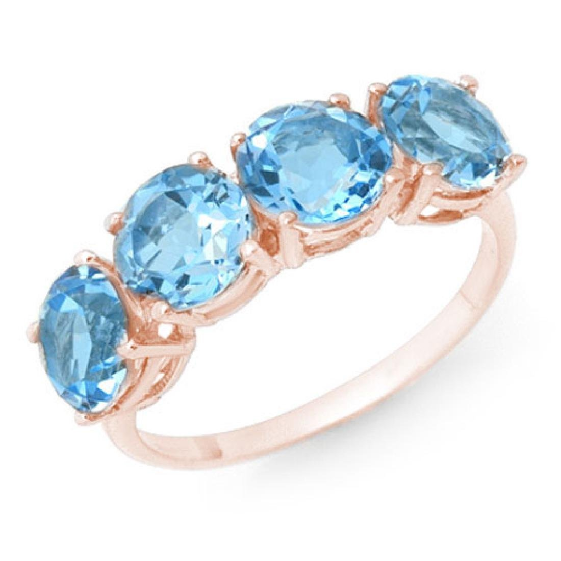 3.66 CTW Blue Topaz Ring 18K Rose Gold