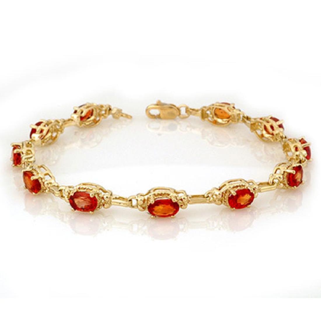 8.0 CTW Orange Sapphire Bracelet 10K Yellow Gold
