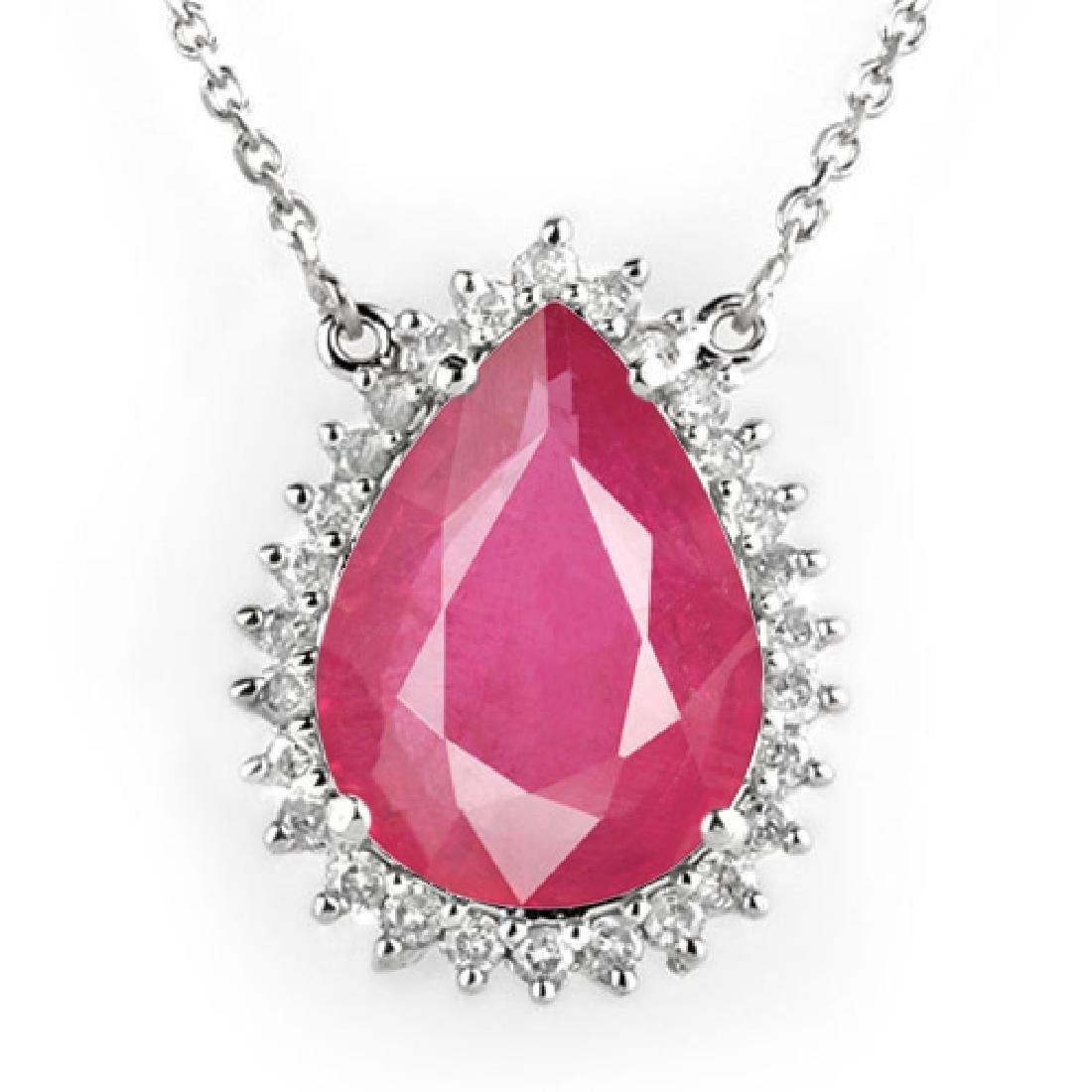 14.15 CTW Ruby & Diamond Necklace 18K White Gold