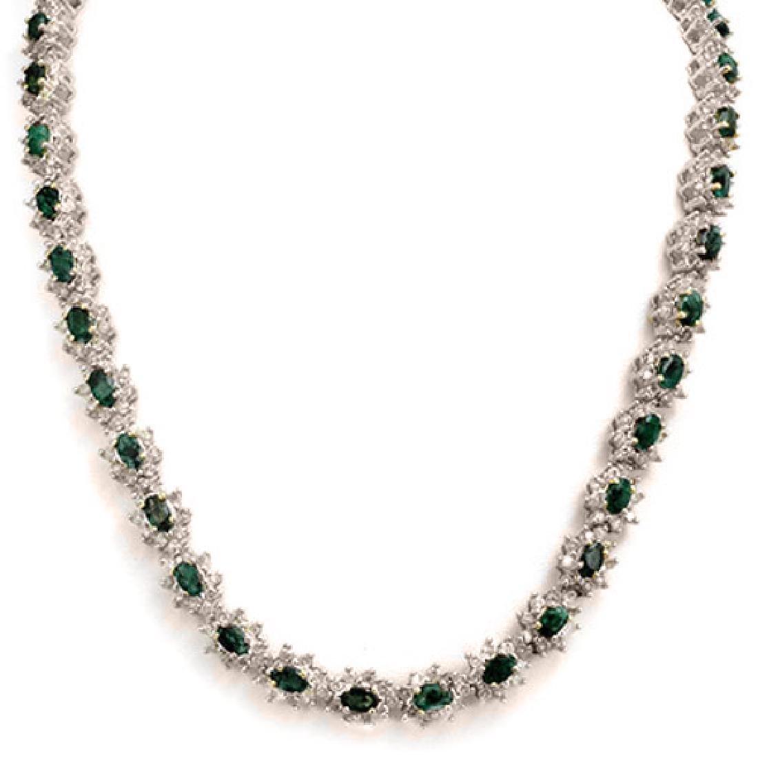 22.0 CTW Emerald & Diamond Necklace 18K White Gold