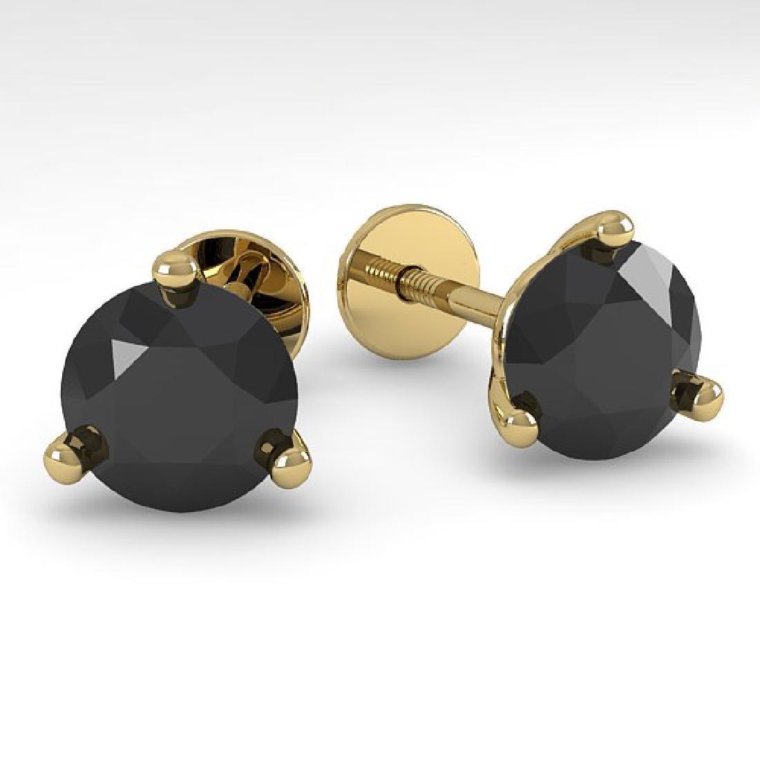 2.0 CTW Black Certified Diamond Stud Earrings 18K