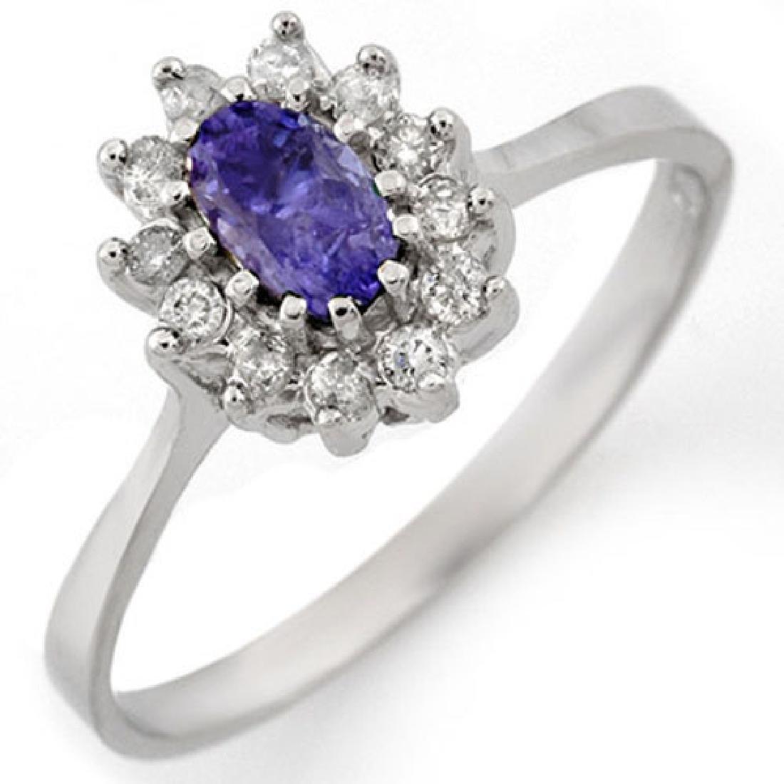 0.60 CTW Tanzanite & Diamond Ring 14K White Gold