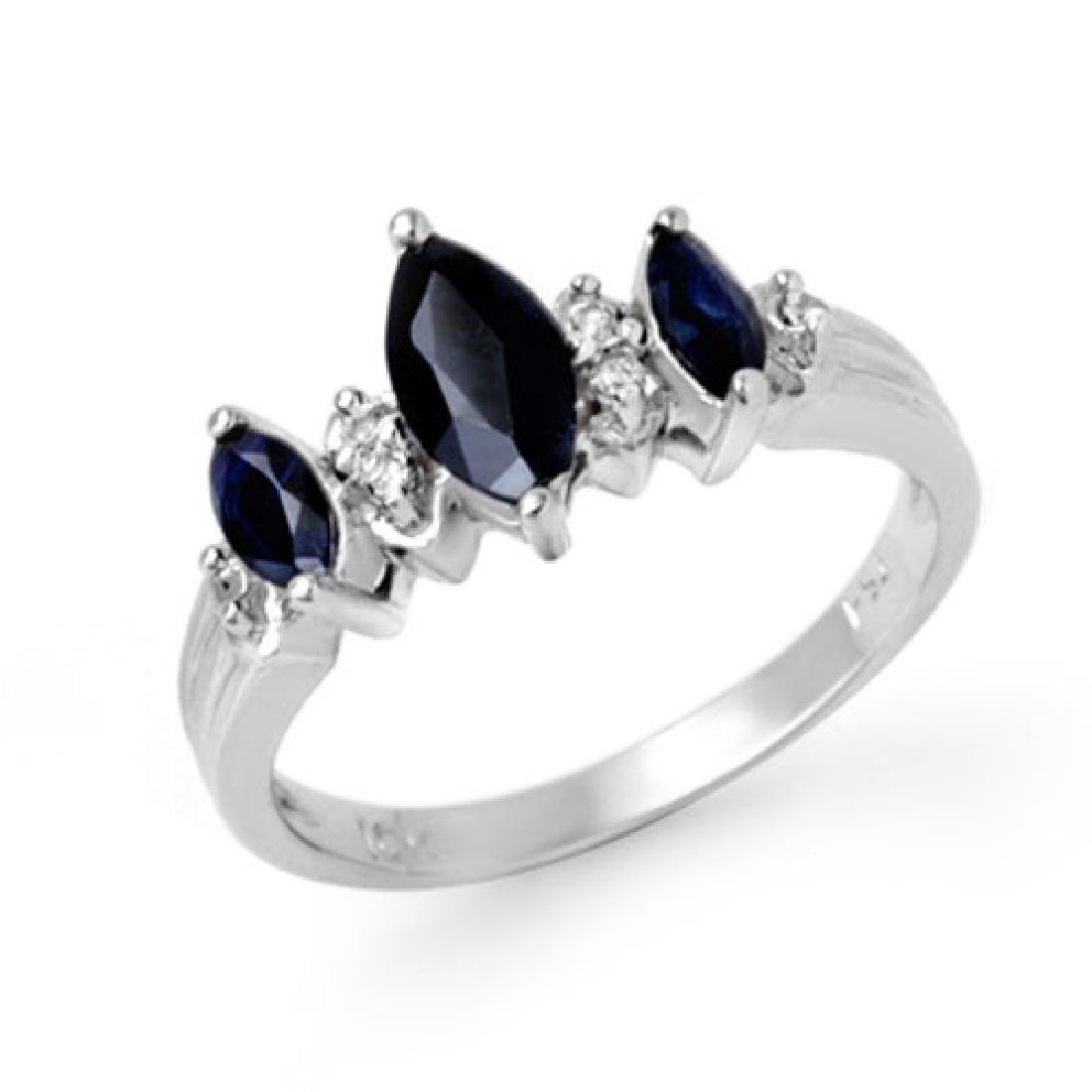 1.0 CTW Blue Sapphire & Diamond Ring 10K White Gold